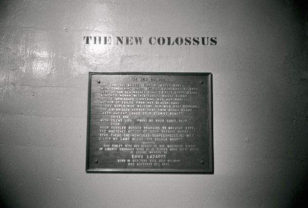 The poem by Emma Lazarus that's on the base of the Statue of