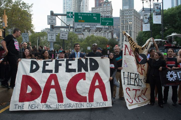 Supporters of the Deferred Action for Childhood Arrivals program rally in New York earlier this month.