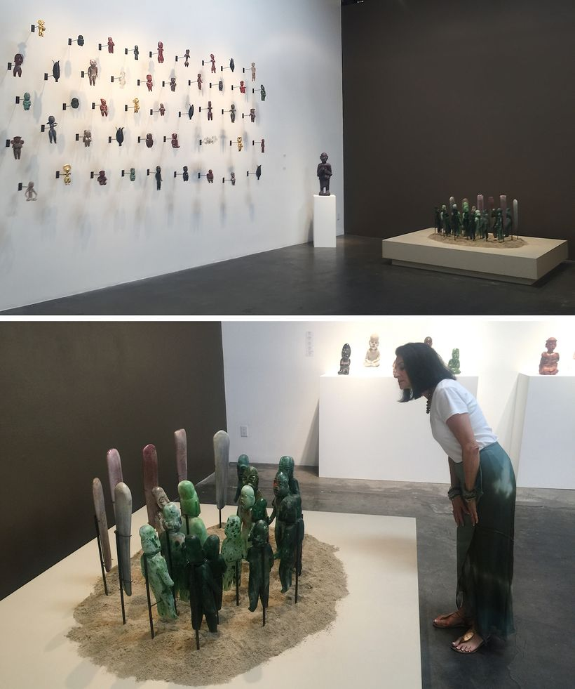 """Top and Bottom: Exhibition installation, """"Contemporary Relics: A Tribute to the Makers"""" by Jaime Guerrero, Skidmore Contempor"""