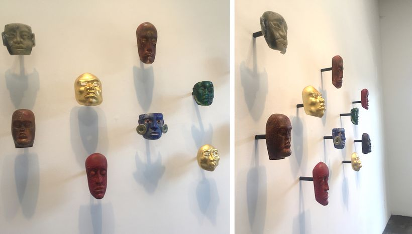 """L and R: Exhibition installation, """"Contemporary Relics: A Tribute to the Makers"""" by Jaime Guerrero, Skidmore Contemporary Art"""