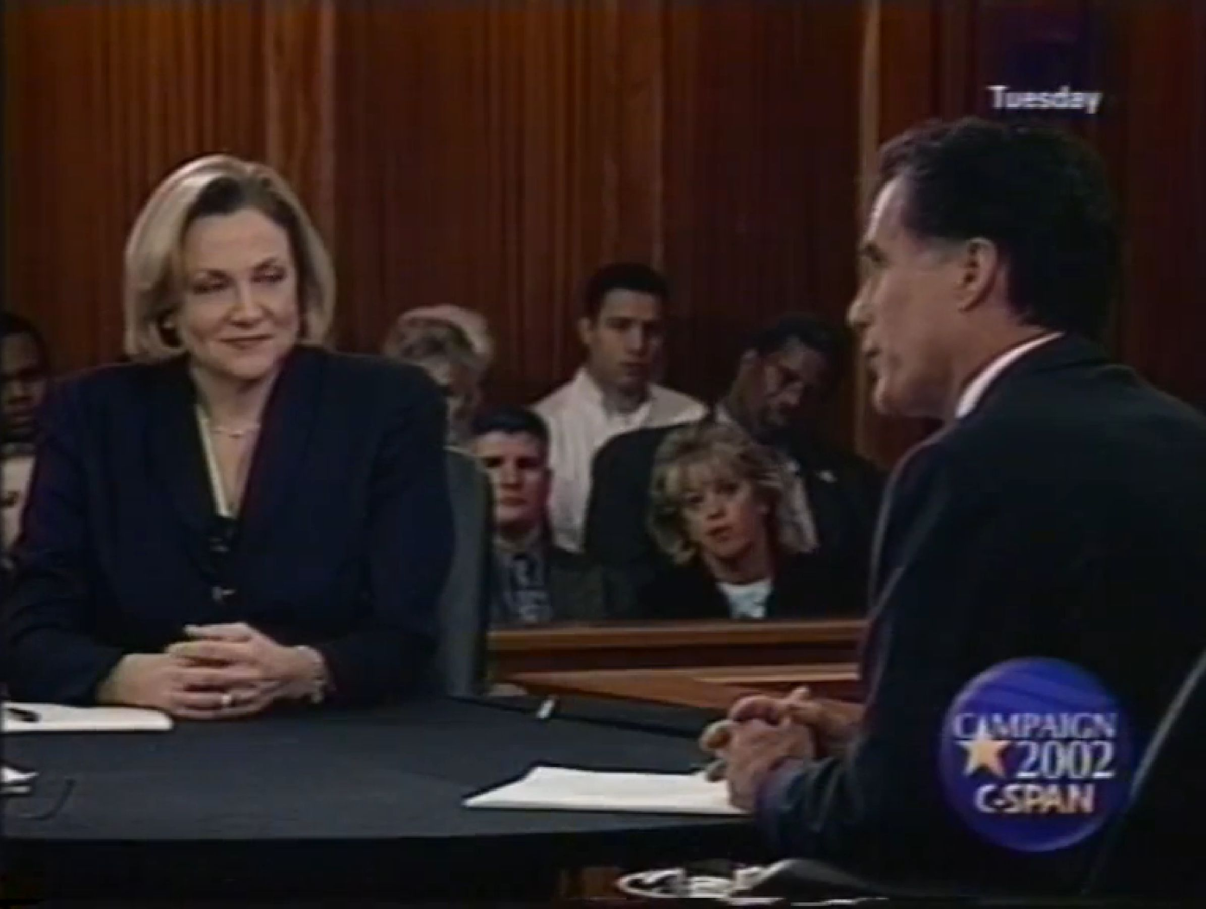 Shannon OBrien debates Mitt Romney during the 2002 Massachusetts gubernatorial campaign