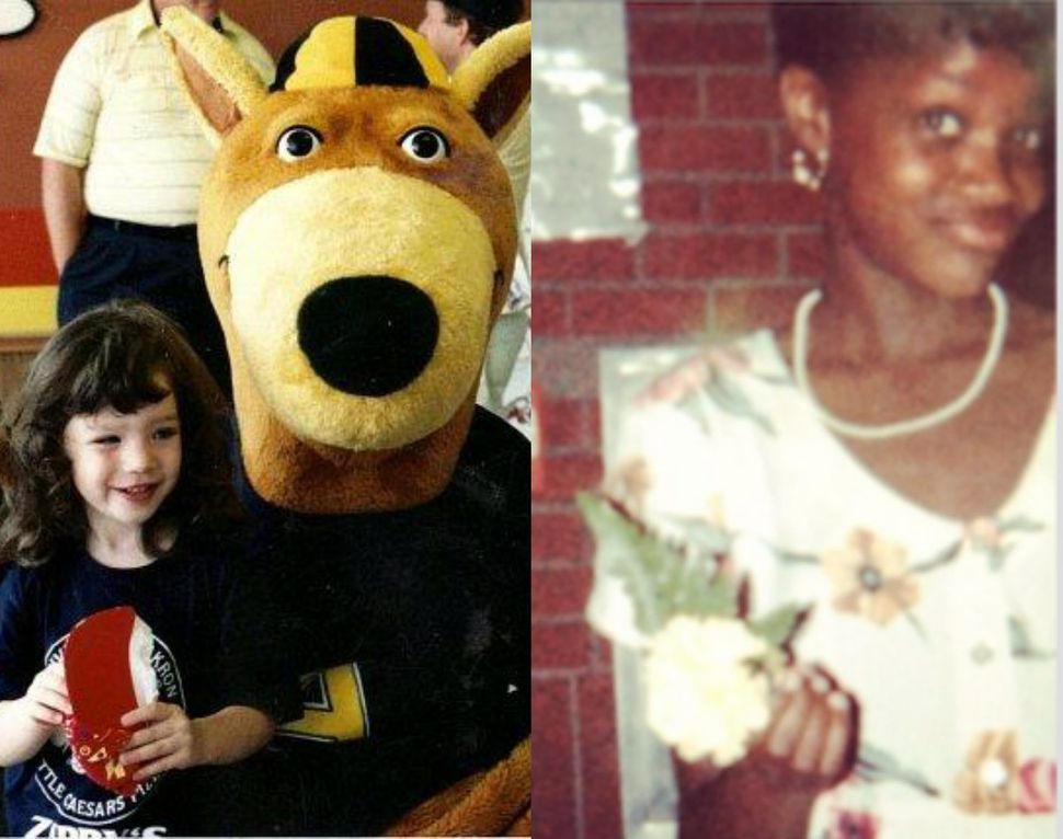 Left: Julia at 4 years old with The University of Akron mascot, Zippy the Kangaroo; Right: Brianna at her fifth-grade gr