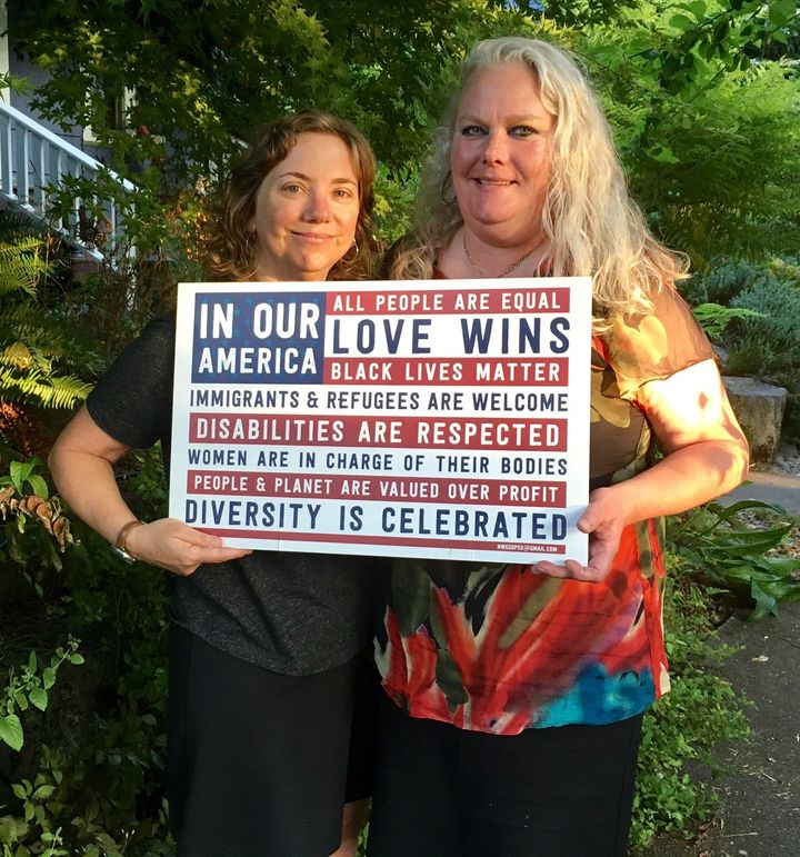 Ali King (left) and Kirsten Hunter are the co-founders of Nasty Women Get Sh*t Done PDX in Portland, Oregon