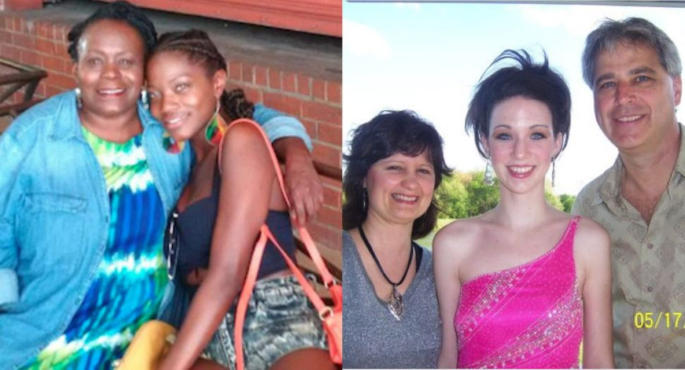 Left: Brianna with her mother as a young girl; Right: Julia with her parents before high school prom in 2008.