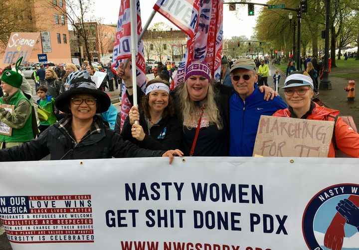 Congressman Earl Blumenauer and members of Nasty Women Get Sh*t Done PDX at the March for Science rally in Portland, Ore. on