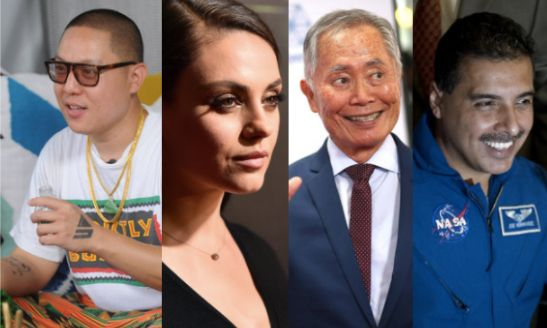 Celebrity chef and author Eddie Huang, left, actress Mila Kunis, actor George Takei and astronaut José M. Herná