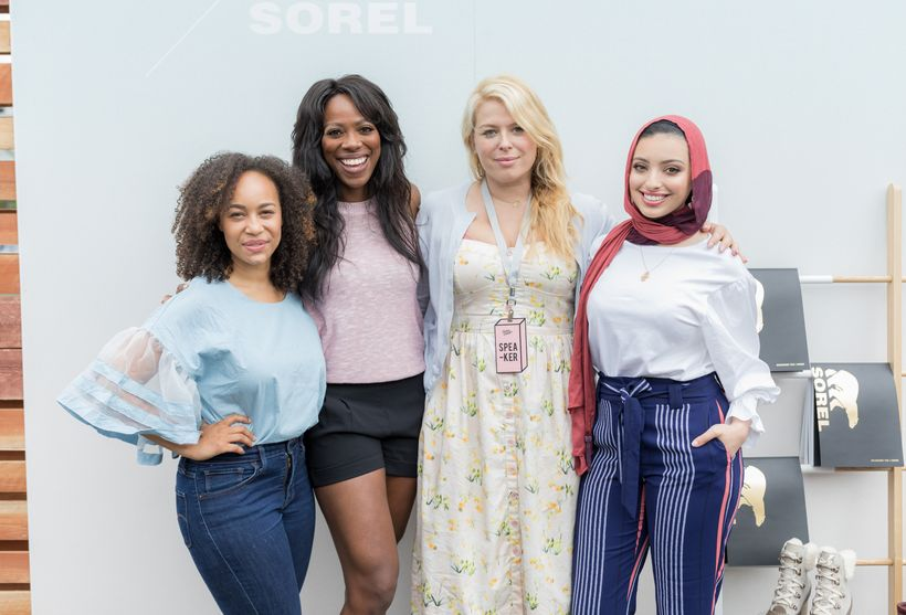 As seen in the Sorel Lounge at Create + Cultvate: Morgan Debaun, Yvonne Orji, Amanda de Cadenet, Noor Tagouri