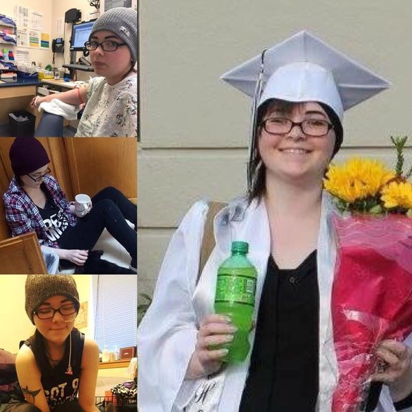 """""""Madelynn diagnosed Nov 2, 2015at 17 with glioblastoma. She graduated high school in June, despite it all. She is 22 mo"""