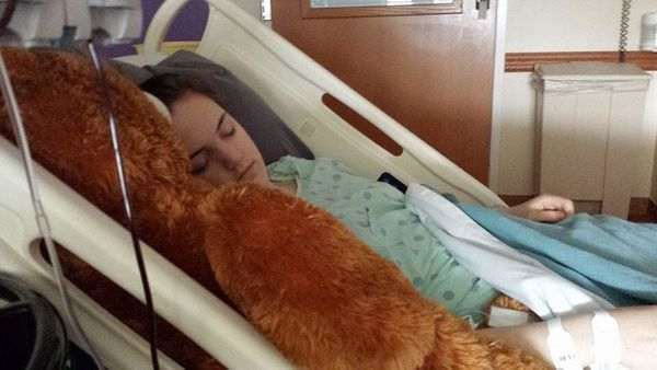 """""""This is my daughter, Sarah, receiving a life saving blood transfusion on the day of her acute lymphoblastic leukemia diagnos"""