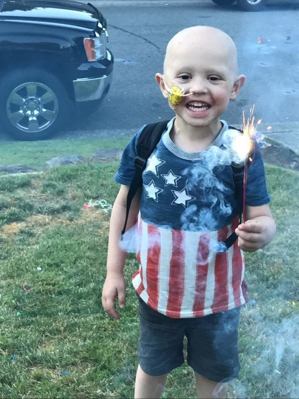 """""""Our brave boy, Reed, was diagnosed a month after turning 3, March 2017, with intermediate risk rhabdomyosarcoma of the prost"""