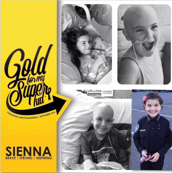 """""""Our sweet Sienna, diagnosed with leukemia at 6 years old and relapsed at 7 years old. She is now almost two years post bone"""