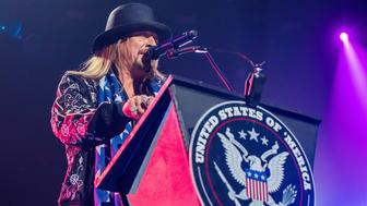 DETROIT, MI - SEPTEMBER 12:  Kid Rock get political as he performs the very first show at the new Little Caesars Arena on September 12, 2017 in Detroit, Michigan.  (Photo by Scott Legato/Getty Images)
