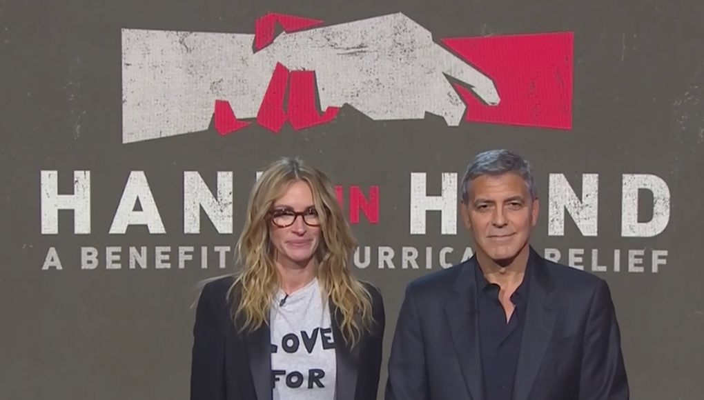 Julia Roberts and George Clooney were among the many celebrities trying to raise money for hurricane victims.