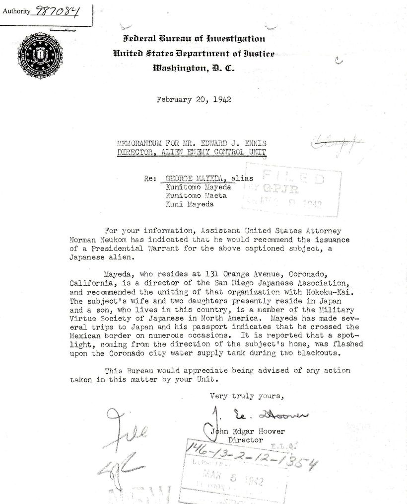 FBI Memo advising issuance of a warrant for Kunitomo Mayeda's arrest a few weeks after Pearl Harbor