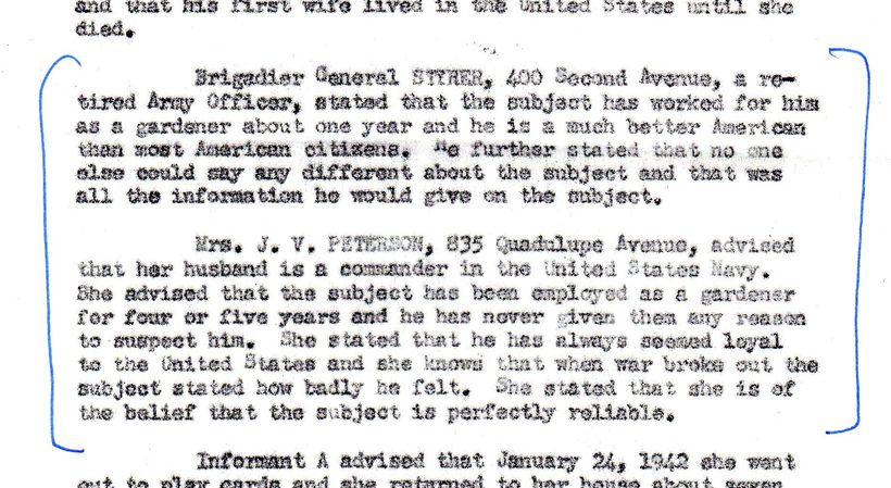 FBI Report summarizes interviews with Kunitomo's gardening clients