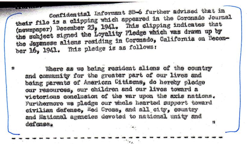FBI Report noting Kunitomo signed public pledge of loyalty to U.S. shortly after Pearl Harbor