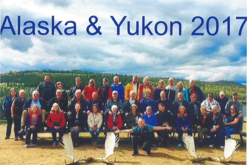 Our 39 Travel Mates at Minto Resorts, YT owned by the Selkirk First Nation, on the banks of the Yukon River with our phenomen