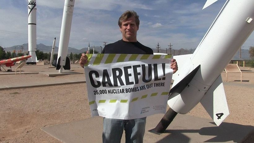 Zoltan Istvan at White Sands missile park in New Mexico