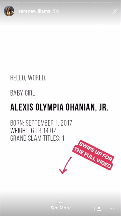 Serena Williams Shares First Picture Of Her Baby Daughter Alexis