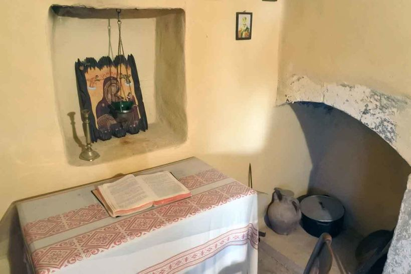 A monk's cell at Arkadi Monastery.