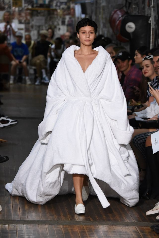A model walks the runway at the Vaquera fashion show during New York Fashion Week on Sept.12 in NYC.