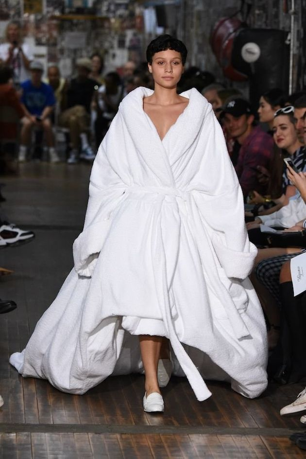 A model walks the runway at the Vaquera fashion show during New York Fashion Week on Sept.12 in