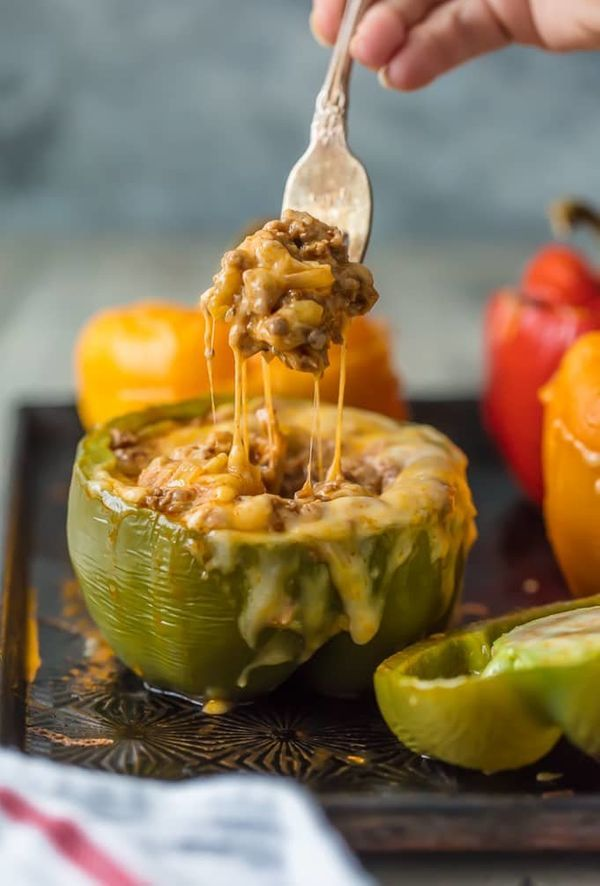 "<strong>Get the <a href=""https://www.thecookierookie.com/cheesy-enchilada-stuffed-peppers/"" target=""_blank"">Cheesy Enchilada"