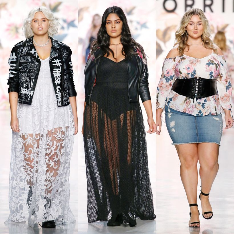 3 of the stunning looks from Torrid's Spring 2018 runway show modeled by Stella Duvall, Jocelyn Corona, and Hunter McGrady.