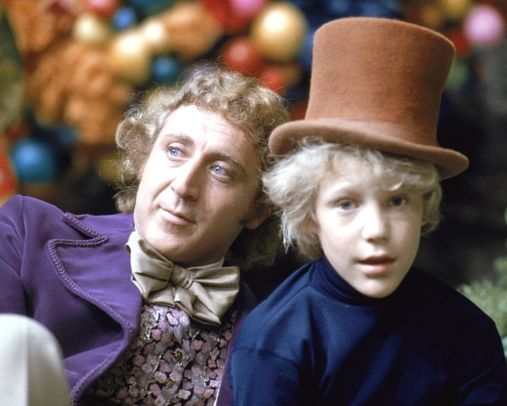 "Peter Ostrum as Charlie Bucket, with Gene Wilder as Willy Wonka, on the set of ""Willy Wonka & the Chocolate Factory"" in 1"