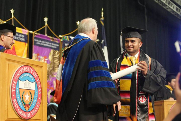 <em>Abraham Diaz receives his diploma from the University of Texas Rio Grand Valley in May 2017.</em>