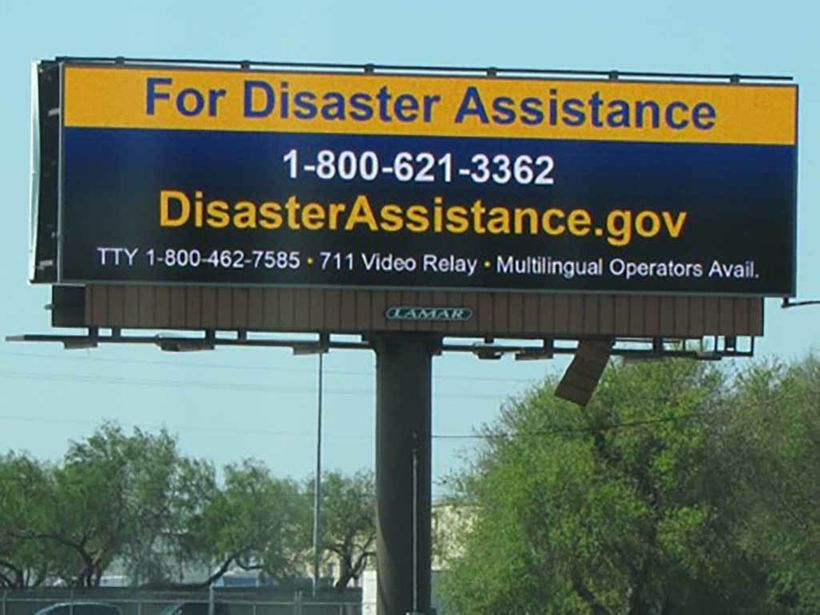 FEMA message on wind-damaged digital billboard in coastal Texas