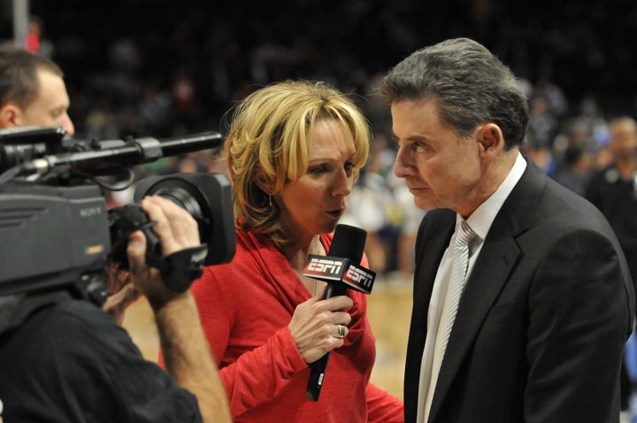 Beth Mowins, in her capacity as ESPN reporter, interviews University of Louisville basketball coach Rick Pitino in 2012.&nbsp