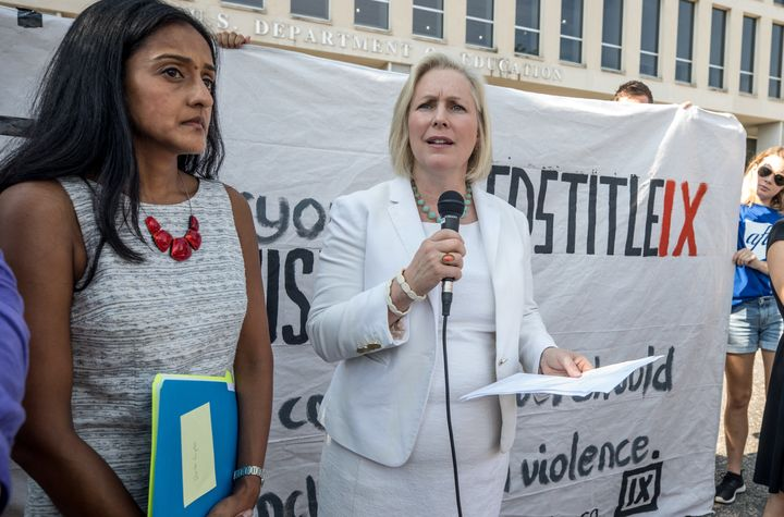 Gillibrand speaks at a rally for survivors of sexual assault on July 13, 2017 outside the Department of Education, ahead of a