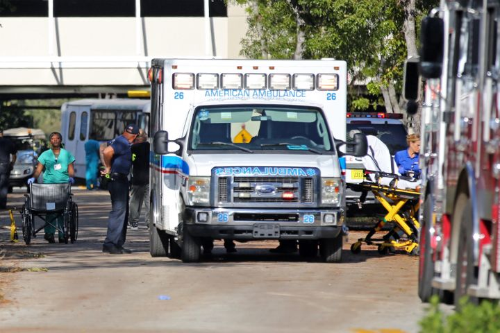 Patients are evacuated at the Rehabilitation Center at Hollywood Hills on Wednesday.