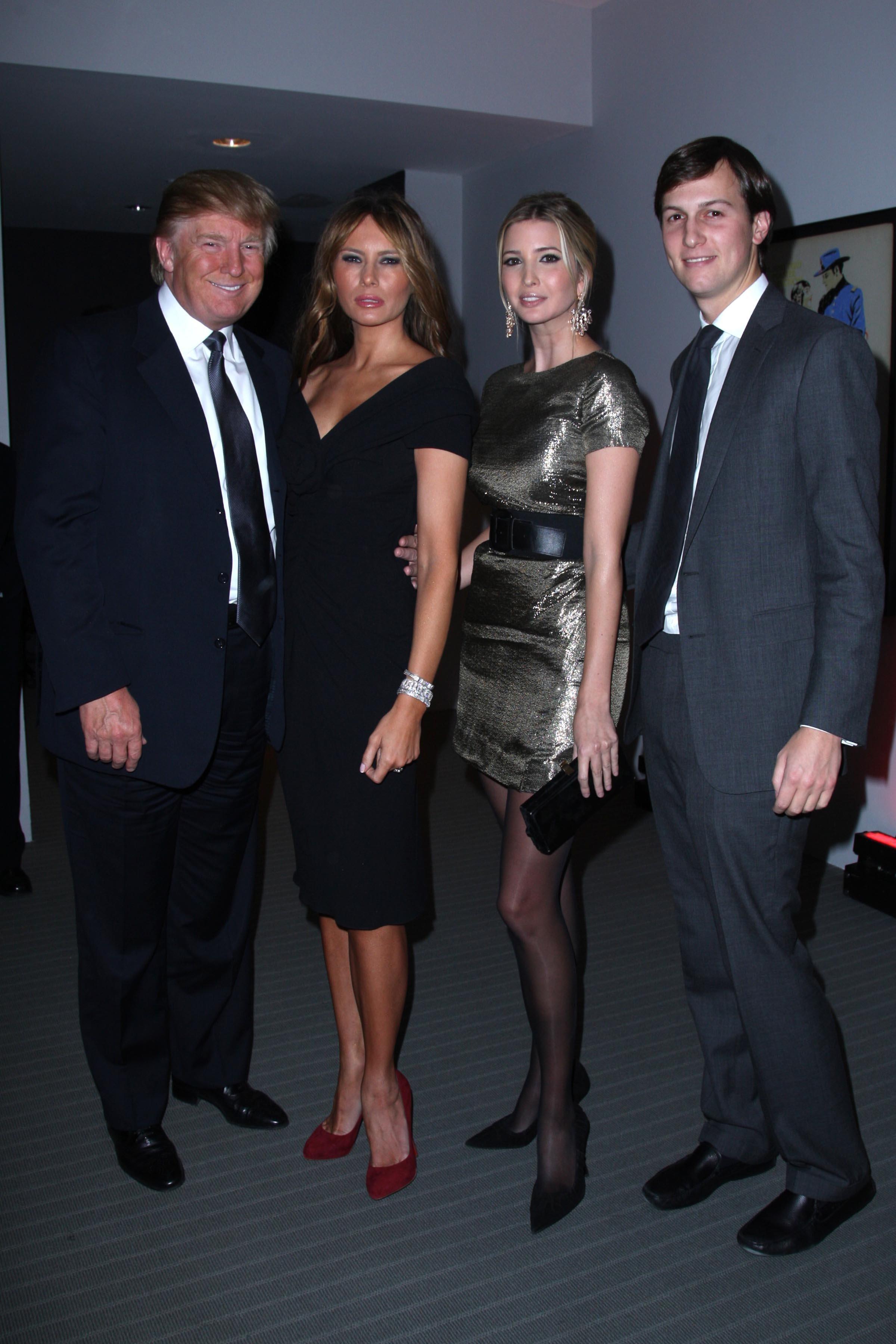 Donald Trump, Melania Trump, Ivanka Trump and Jared Kushner at the Museum of Modern Art on Nov. 10, 2008 in New York City.