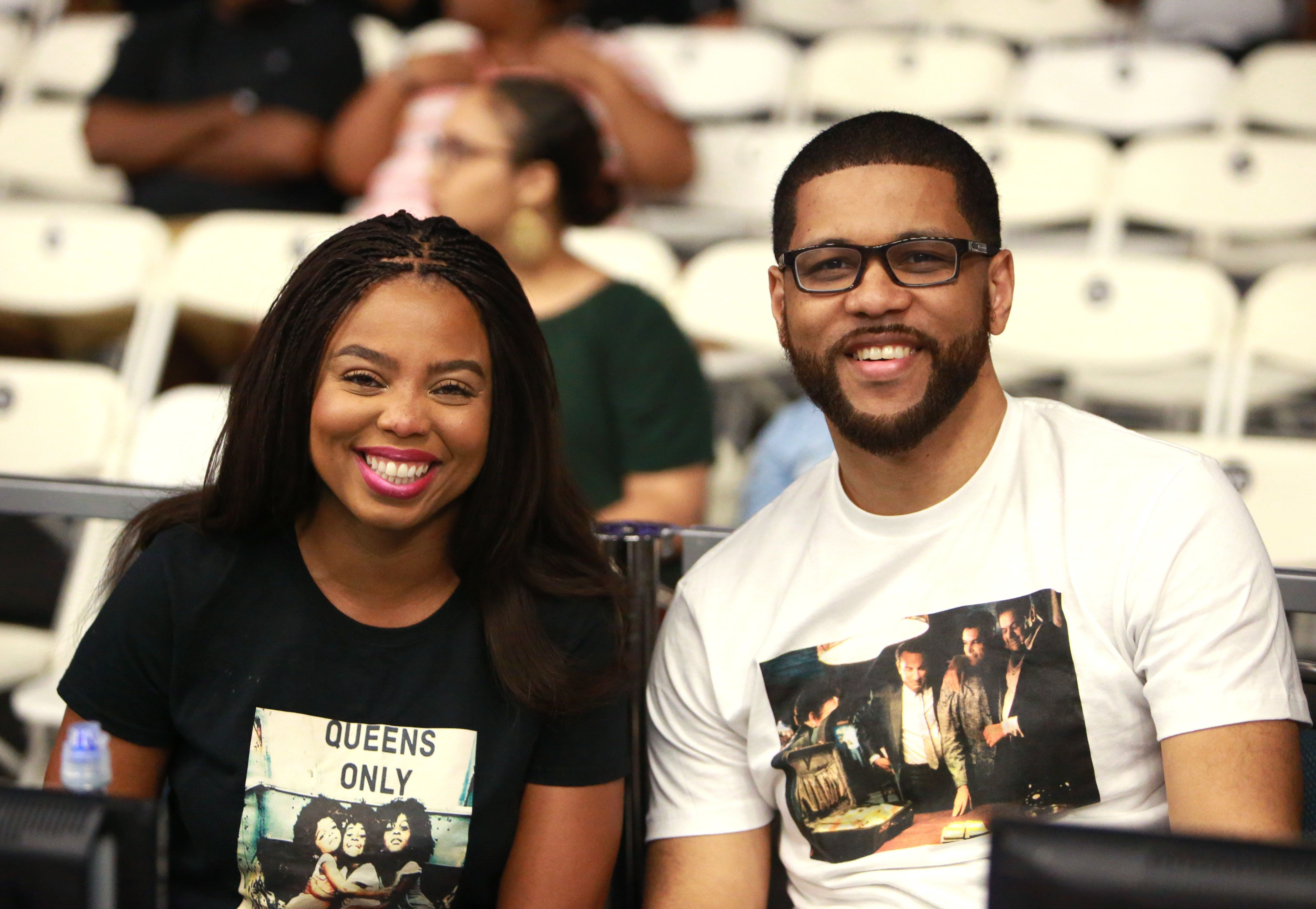 LOS ANGELES, CA - JUNE 24:  Jemele Hill (L) and Michael Smith at the Slam Dunk Contest during the 2017 BET Experience at Los Angeles Convention Center on June 24, 2017 in Los Angeles, California.  (Photo by Leon Bennett/Getty Images for BET)