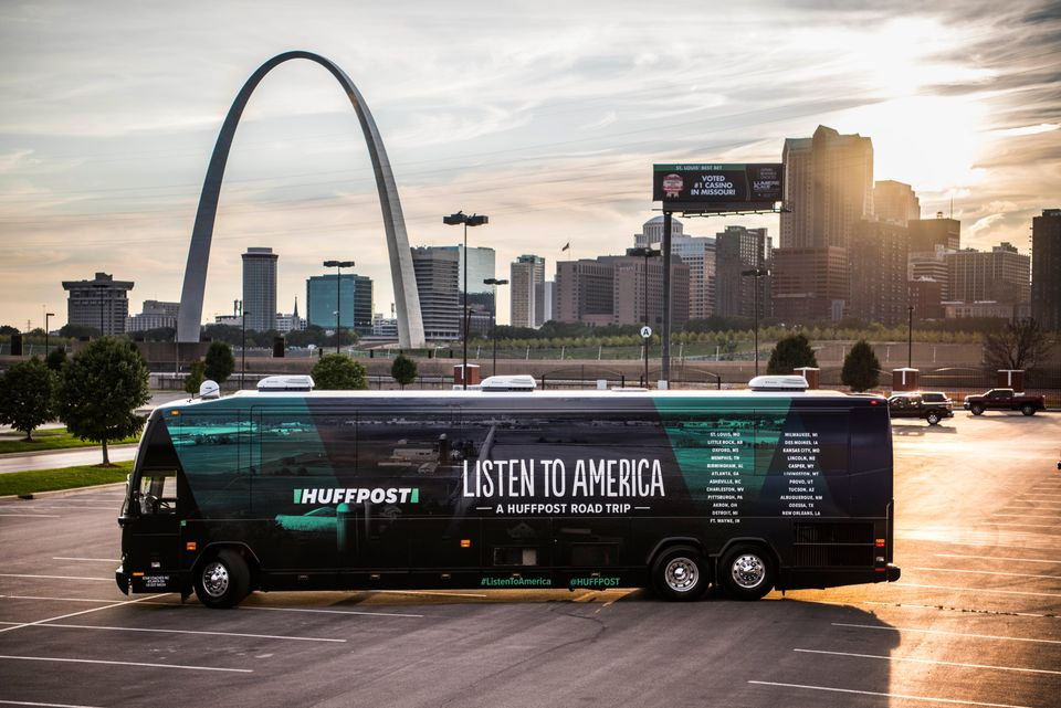 "The HuffPost bus can be seen with the Gateway Arch in the background in Illinois on Sept. 11 as ""Listen to America: A HuffPos"