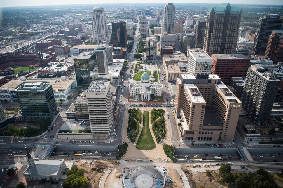 A view of the city from the top of the arch.