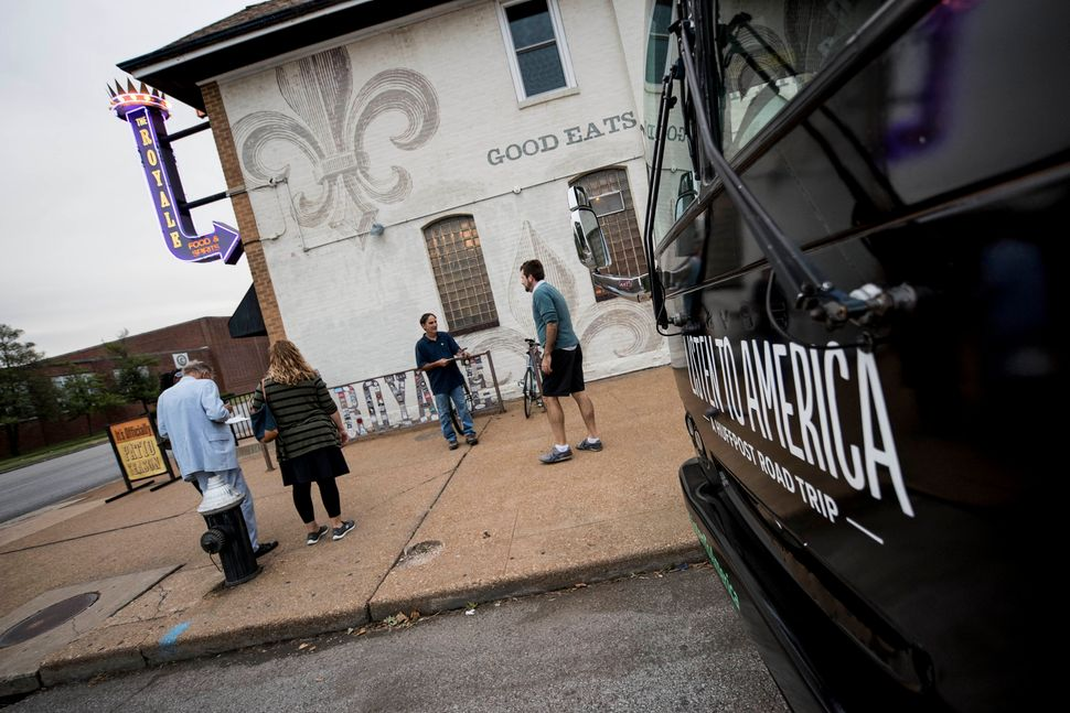 The HuffPost Tour bus outside The Royale restaurant and bar in South City St. Louis.