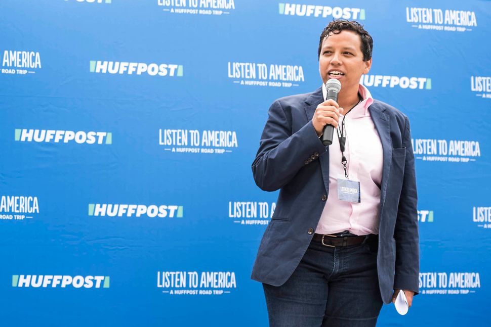 HuffPost Editor-in-Chief Lydia Polgreen speaksto the crowd at the St. Louis stop.