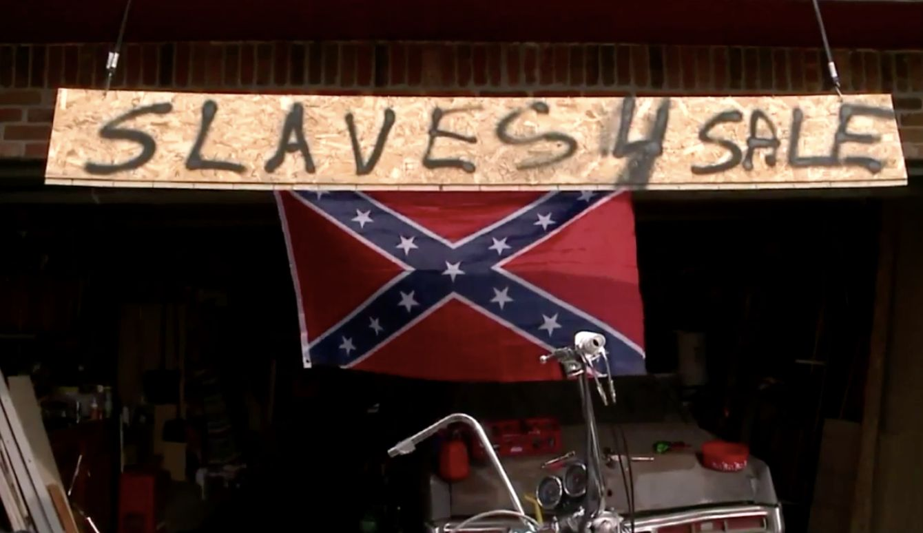 Man Posts Slaves 4 Sale Sign Next To Confederate Flag To