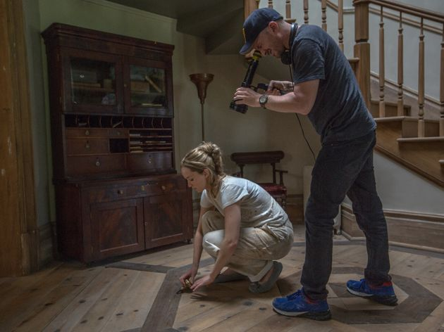 Jennifer Lawrence and Darren Aronofsky film a scene from