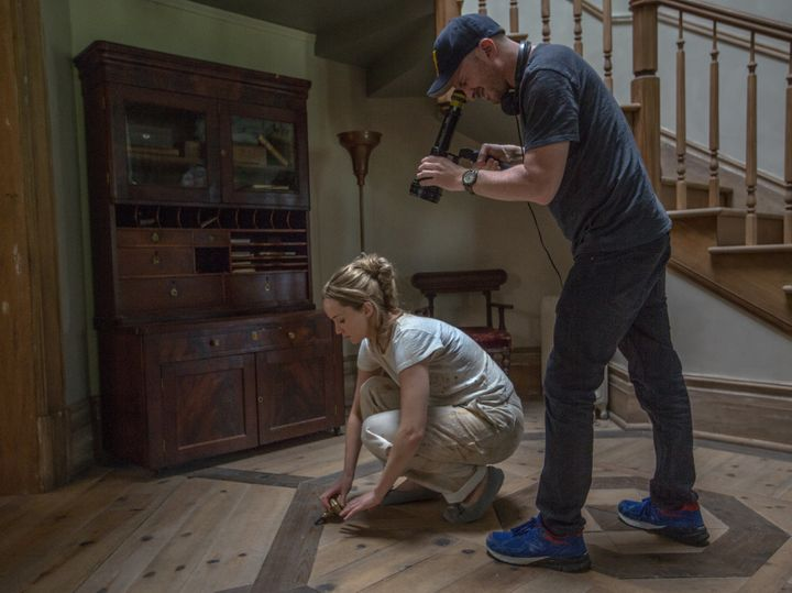 "Jennifer Lawrence and Darren Aronofsky film a scene from ""mother!"""