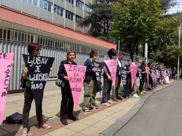 <em>Labris, Gayten and other organizations protesting the violence against gay men in Chechnya. </em>