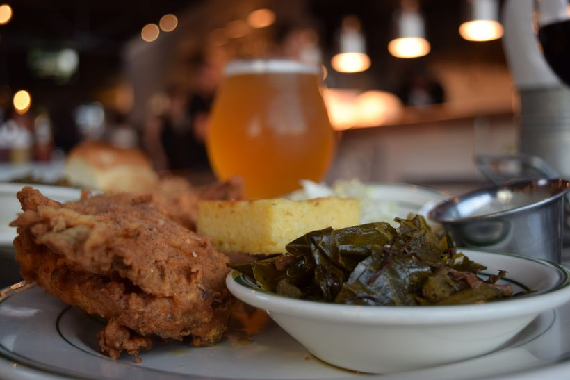 Smoked & Fried Chicken with collard greens, corn bread, and local beer