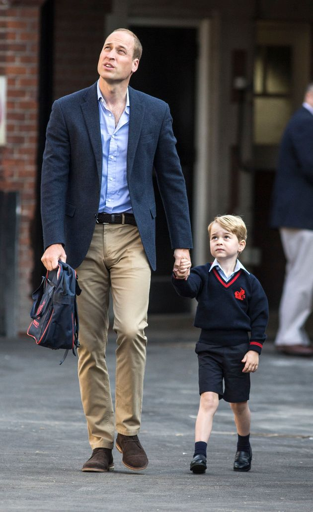 Prince George arriving with the Duke of Cambridge at Thomas's Battersea in London,on his first...
