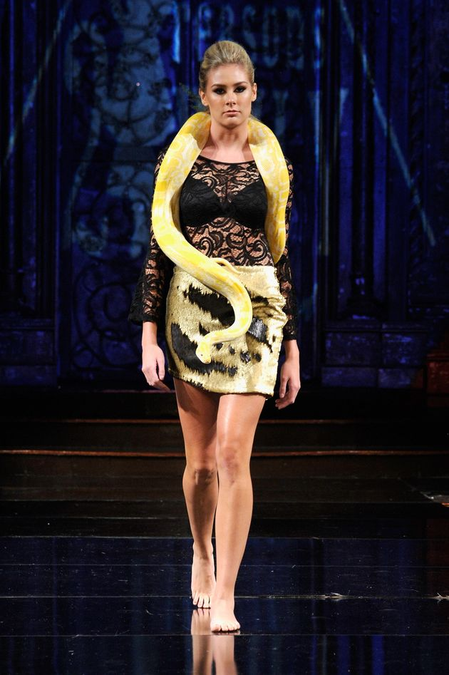 Madeline Stuart Channels Britney Spears' Snake Moment At Her Fashion