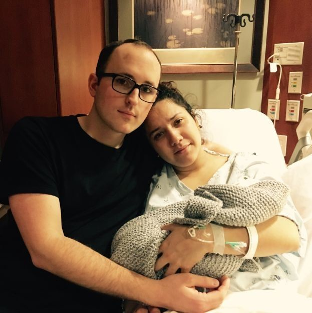 Susanna Butterworth with her husband Dallin and their son Walter, who was stillborn in March 2017.