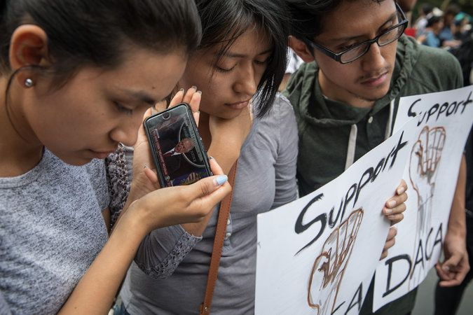 Three DACA recipients listened near Trump Tower in Manhattan to Attorney General Jeff Sessions's announcement.