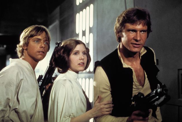 Mark Hamill, Carrie and Harrison as Luke Skywalker, Princess Leia and Han Solo in 'A New